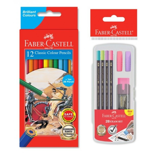 Faber-Castell Classic Colour Pencils, 12L + 1pc Tri-Grip 2B Pencil & 2B Exam Set in Clear box Pastel Range (11 58 83 & 21 11 48)