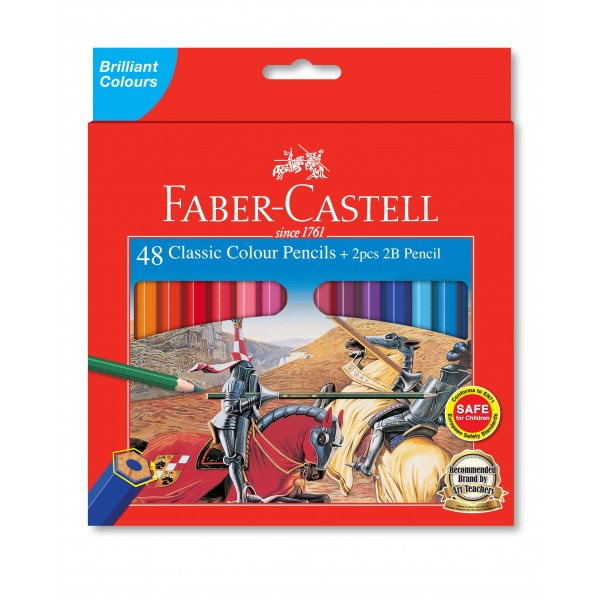 Faber-Castell Classic Colour Pencils, 48L + 2pcs Tri-Grip 2B Pencils