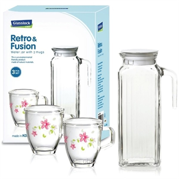 Glasslock Water Jar with 2 Mugs