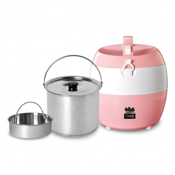 Oasis Swiss 2.5L Thermal Cooking Pot with Stainless Steel Steamrack & Sandwich Bottom Inner Pot