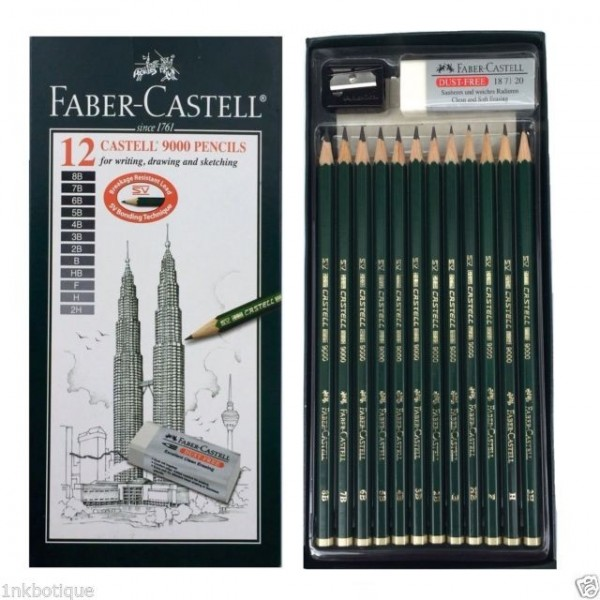 Faber-Castell 9000 Art & Graphic Pencil Set of 12 - 8B To 2H