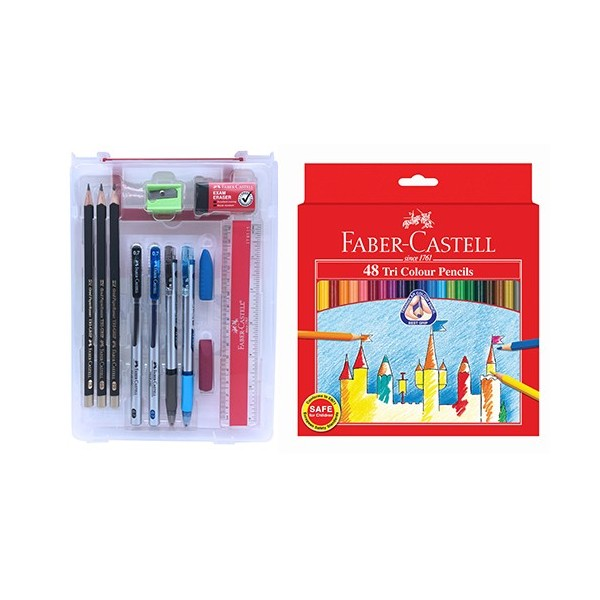Faber - Castell My Exam Set & Tri Colour Pencil 48L