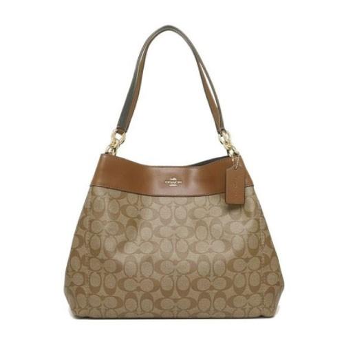 8203d779 Coach Signature Lexy Coated Canvas Leather Shoulder Bag (F27972)
