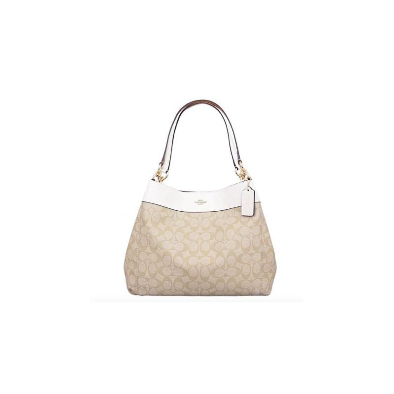 c6aee9e7d9f ... Coach Signature Lexy Coated Canvas Leather Shoulder Bag (F27972) ...